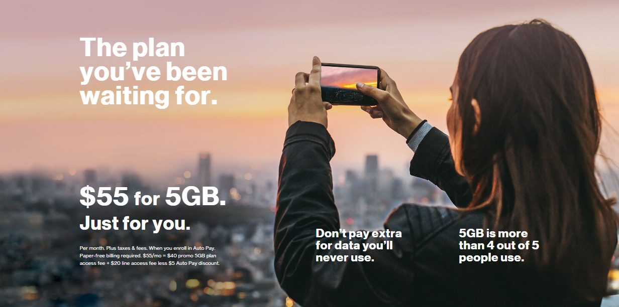 Verizon Single Line Plan $55/mo