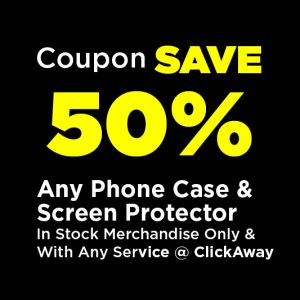 Half off any phone case and screen protector coupon