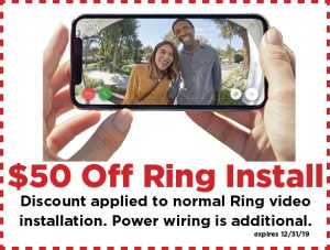 $50 off Ring installation ad