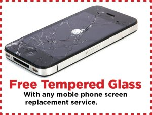 Free tempered glass with phone screen repair