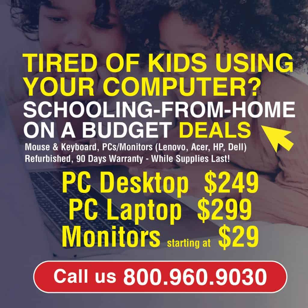 Back to school computer sales specials for PC Desktops, PC Laptops and Monitors