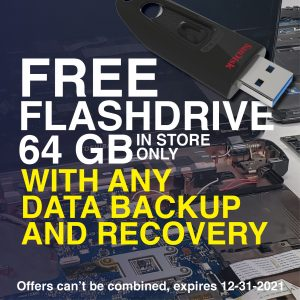 Get your Free 64GB Flashdrive with any Data Backup and Recovery - in store only.