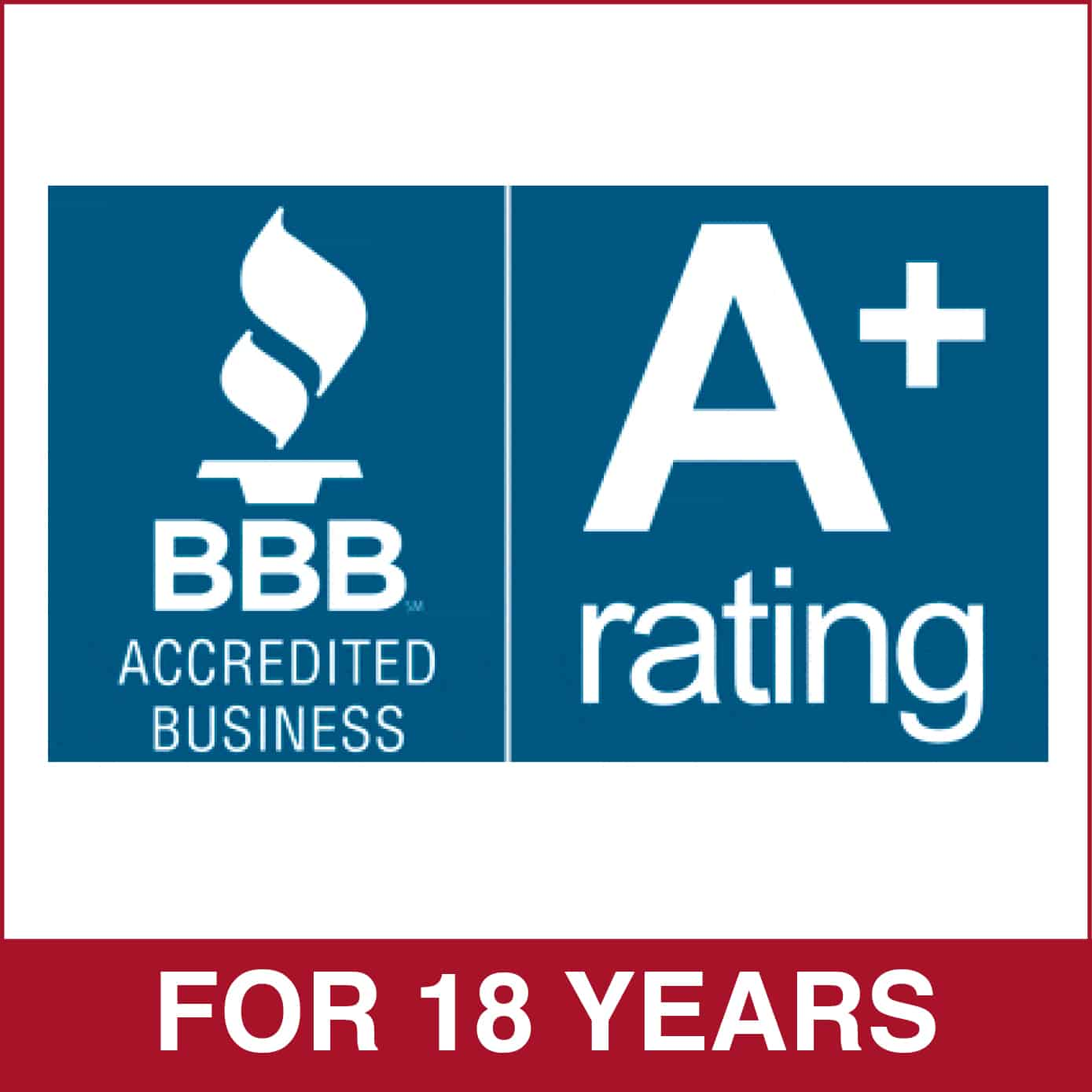 BBB A+ Rating for 18 Years