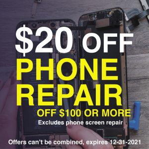 coupon-phone-repair $20 off of $100 and more