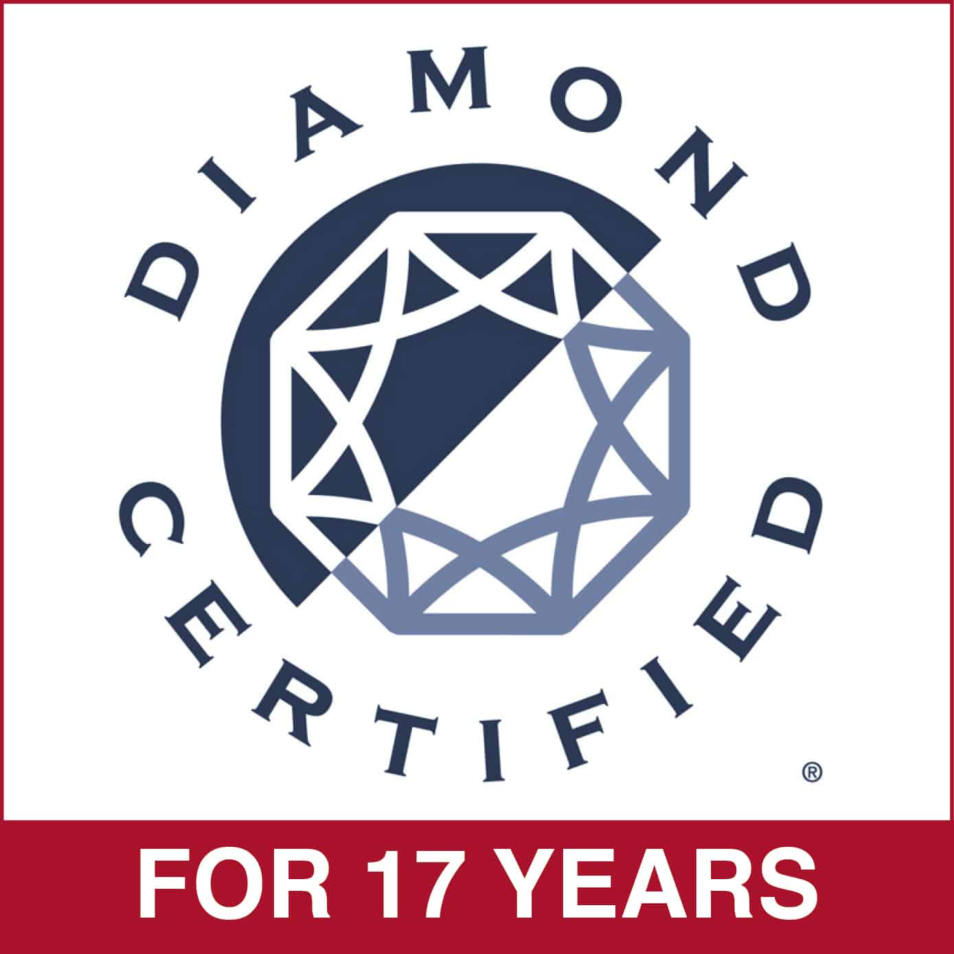 Diamond Certified for 17 Years
