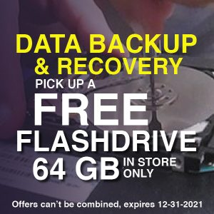 Coupon for a FREE flash drive for every data backup and data recovery