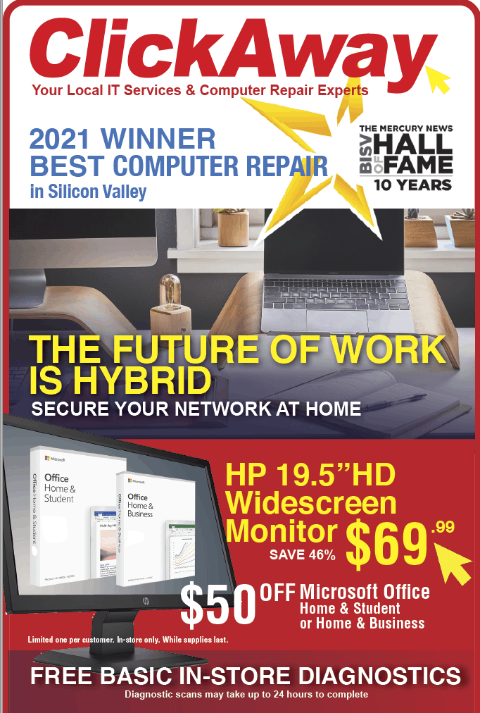 Ad the future of work is working from home in a hybrid environment